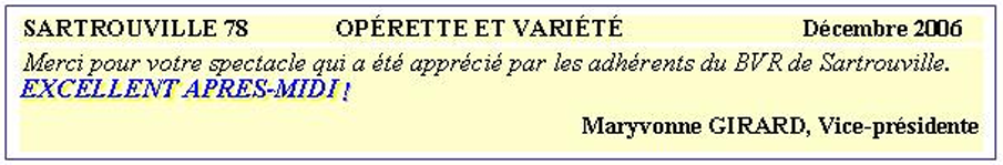 opérette et variété- Sartrouville