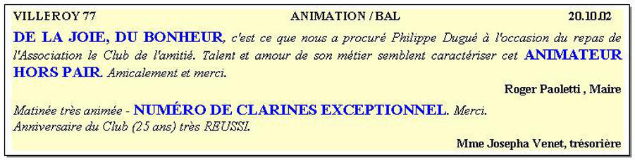 Animation/bal, villeroy