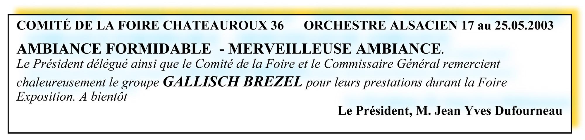 Comité de la Foire Chateauroux 36 - orchestre alsacien 17 au 25-05-2003