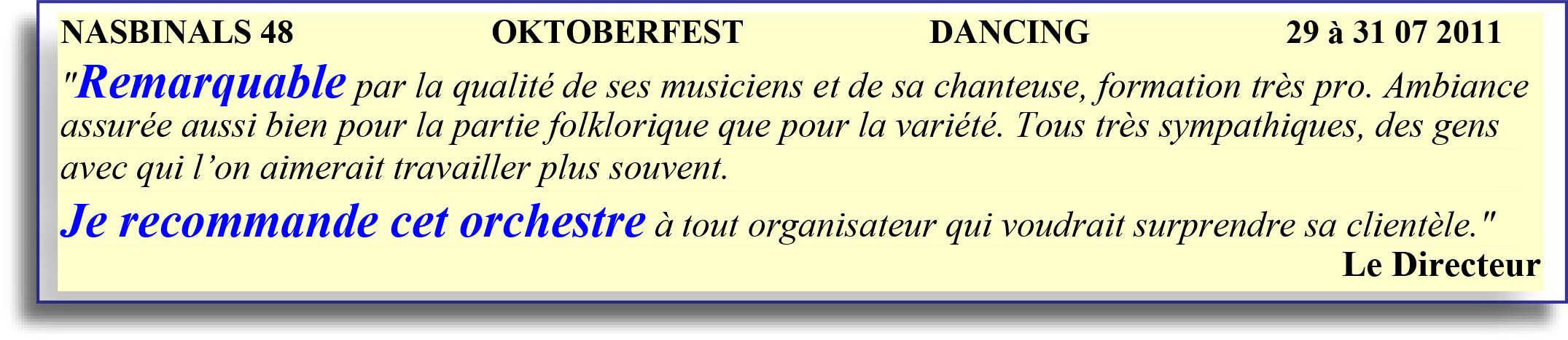 NASBINALS 48 ORCHESTRE BAVAROIS ET DE VARIÉTÉ 29-31 07 2011